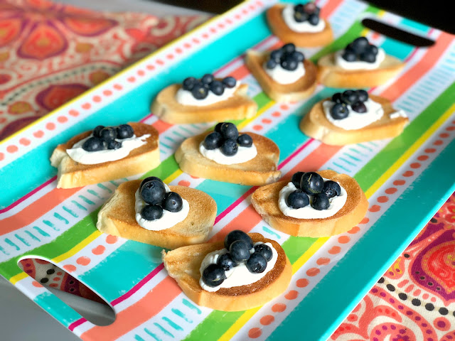 Goat Cheese, Prosccuito and Blueberry Crostini
