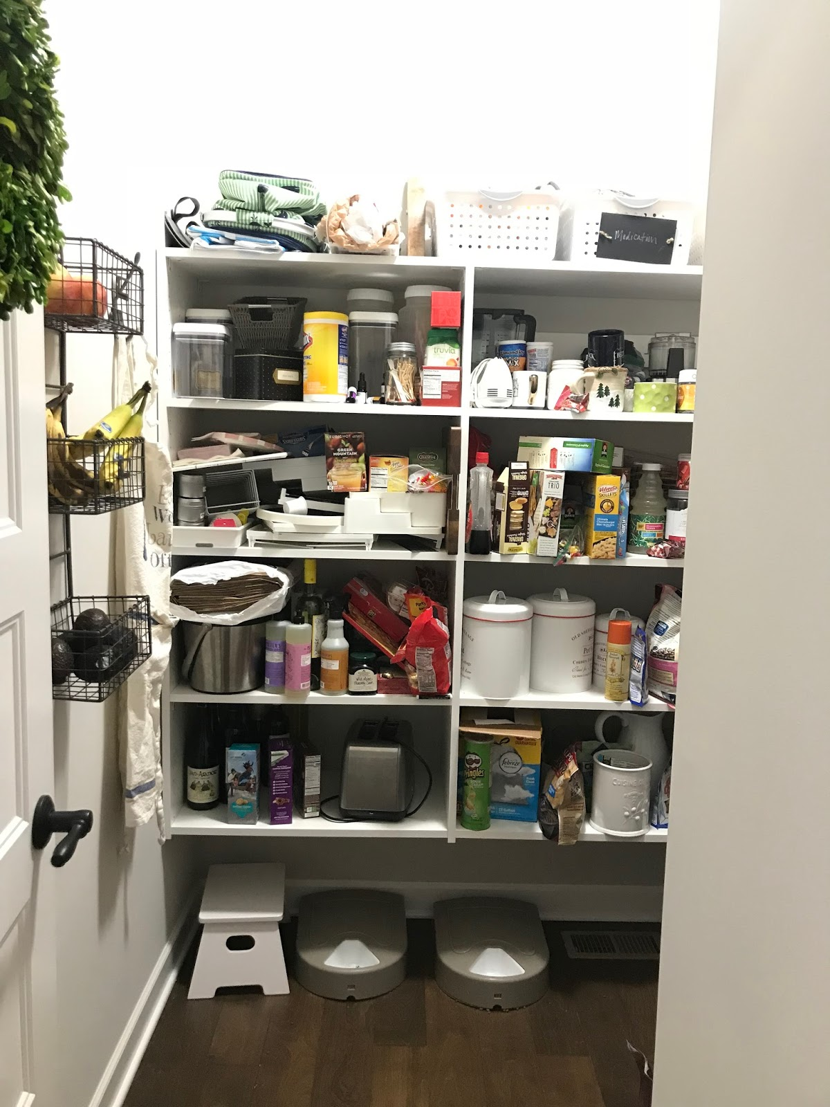 Messy pantry before and after