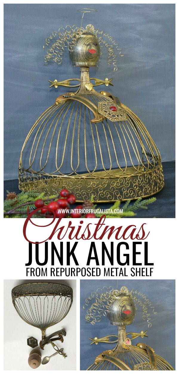 Christmas Junk Angel From A Repurposed Metal Shelf