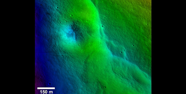 A prominent lobate fault scarp in the Vitello Cluster is one of thousands discovered in Lunar Reconnaissance Orbiter Camera images (LROC). Topography derived from the LROC Narrow Angle Camera (NAC) stereo images shows a degraded crater has been uplift as the fault scarp has formed (blues are lower elevations and reds are higher elevations). Boulders in the crater have aligned in rows that parallel the orientation of the fault scarp. Credits: NASA/LRO