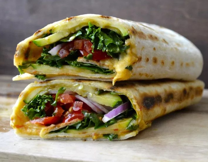 Grilled Zucchini Hummus Wrap #veganmeal #wrapsrecipe