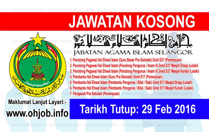 Jawatan Kerja Kosong Jabatan Agama Islam Selangor (JAIS) logo www.ohjob.info februari 2016