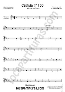 Trumpet and Flugelhorn Sheet Music for Cantiga de Amigo Nº 100 de Alfonso X El Sabio Classical Music Scores