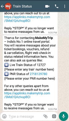 How to check live train status & PNR status on Whatsapp
