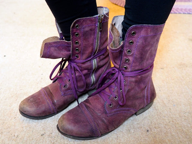 Pull the Lever | Disneybound Yzma outfit shoe details of purple lace up combat boots