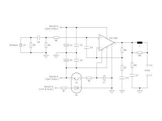 Diagrama do circuito correspendente à secção de amplificação.