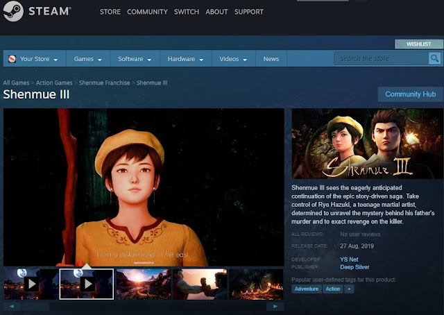Store page for Shenmue III on Steam