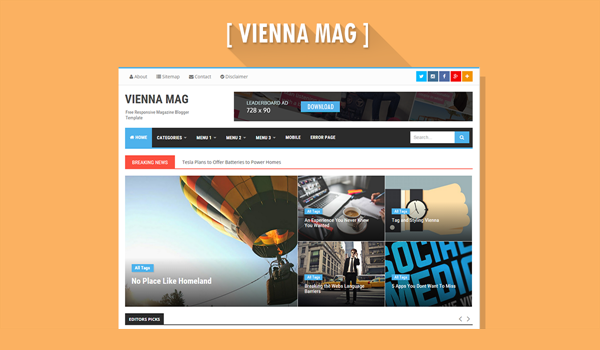 Giao diện blogger Vienna Mag Responsive