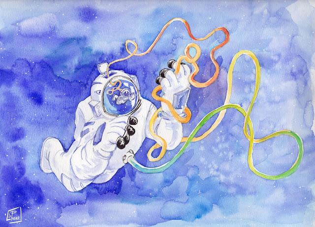 psychonaut MDMA LSD aquarelle trip cosmonaut space void drug LePueblo