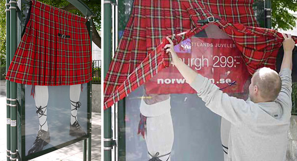 20. Norwegian Airlines New Destinations: The Kilt Bus Stop Ad Campaign