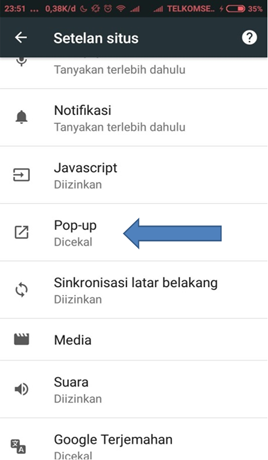 cara blokir iklan popup browser Chrome di hp android