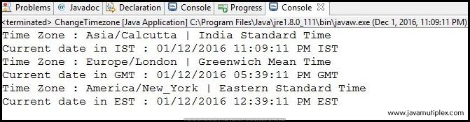 Output of Java Program how to change time zone