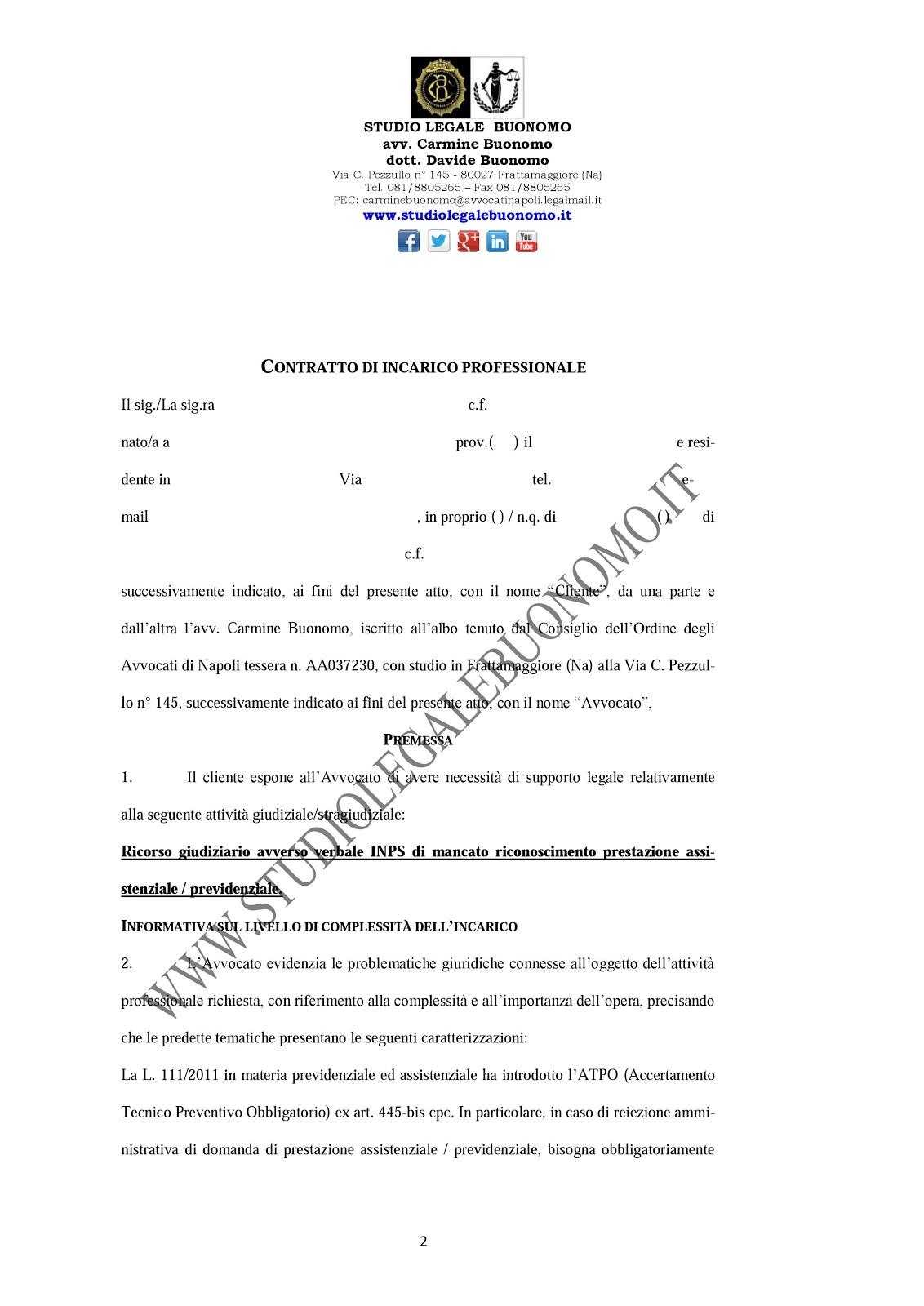Studio legale buonomo diritto previdenziale ed for Fac simile preventivo rifacimento bagno