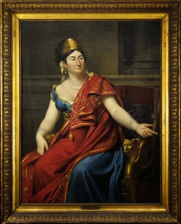 Portrait d'Aglaé-Constance Boudard en robe de velours rouge (1815), Adèle Romany