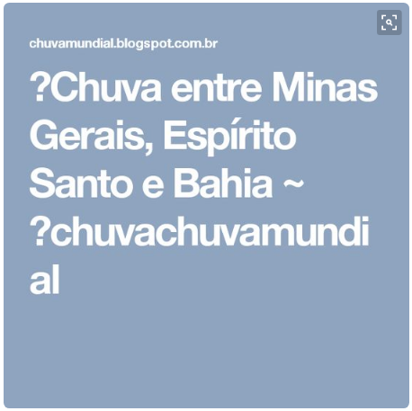 ►Chuva entre Minas Gerais, Espírito Santo e Bahia
