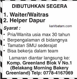 Lowongan Kerja Waitress dan Waiter di Batam (Lulusan SMA)