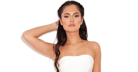 a0ef743096d6 sheworeit: Nicole Scherzinger's House Of CB Fabrizia Bright White Strapless  Bandeau Fluted Frill Hem Bodycon Bandage Midi Dress