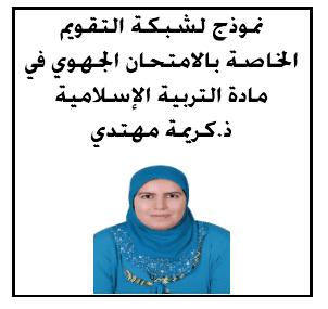 نموذج لشبكة التقويم الخاصة بالامتحان الجهوي في مادة التربية الإسلامية