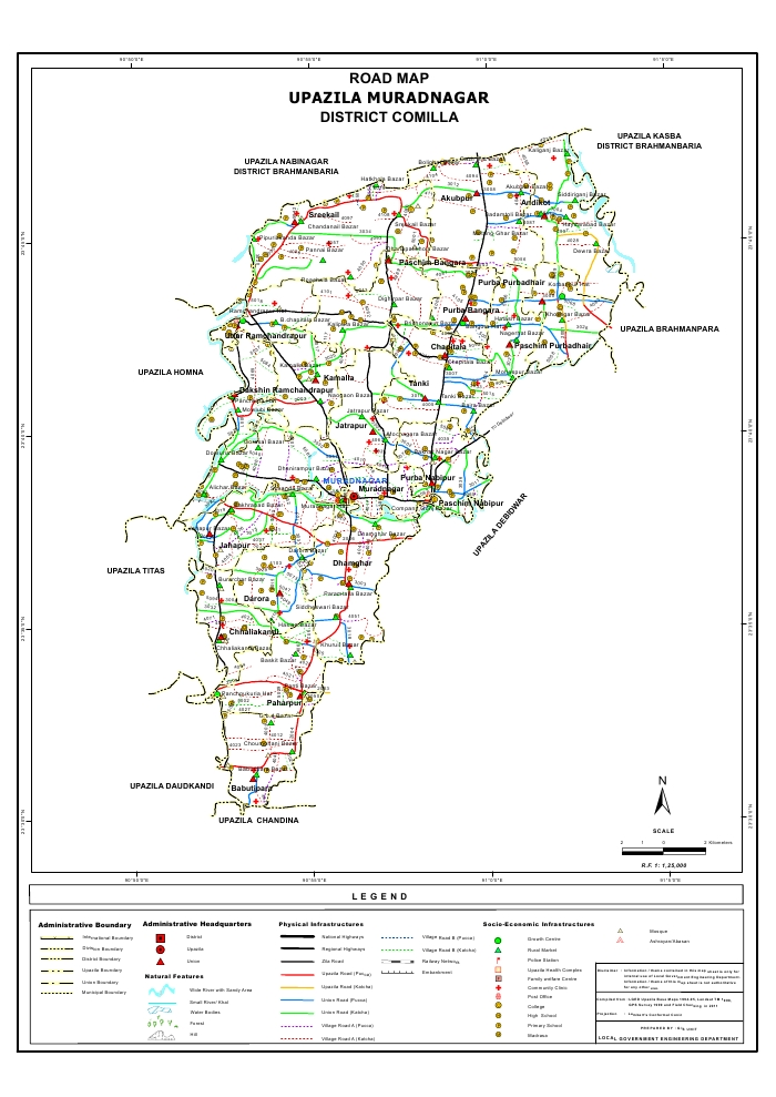 Muradnagar Upazila Road Map Comilla District Bangladesh