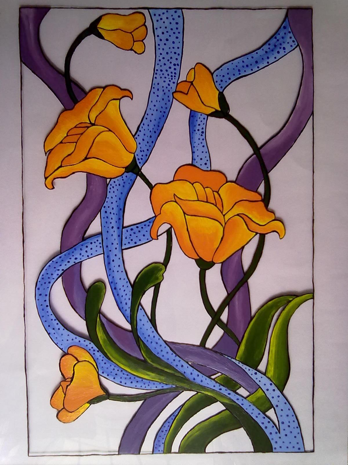 Tableau Vitrail Fleur Déco Peinture Sur Verre Et Porcelaine