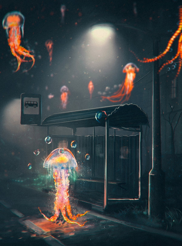 03-Jellyfish-at-the-Bus-Stop-Sylar113-A Mixture-of-Surrealism-and-Fantasy-Digital-Art-www-designstack-co