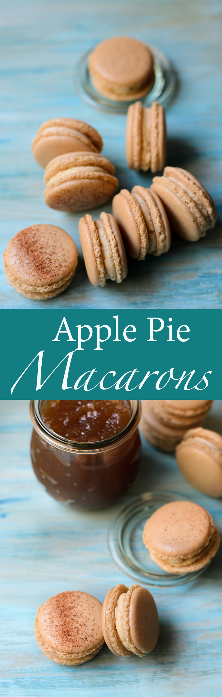 Apple pie macarons with apple pie buttercream and apple butter.