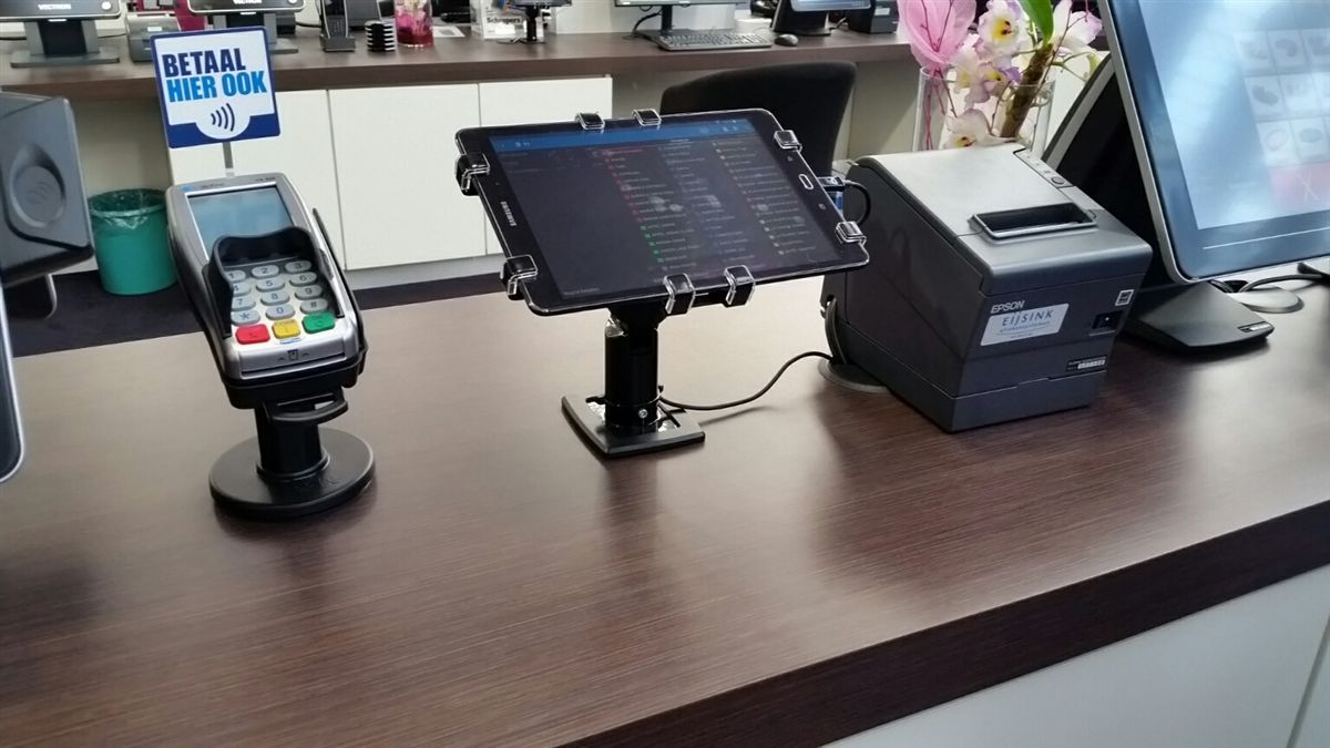 POS進銷存系統專用平板電腦防盜立架,平板防盜展示架