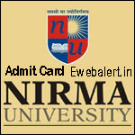 NIRMA University Admit Card