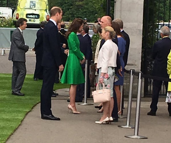 Queen Elizabeth and Prince Philip, Duke of Edinburgh, Catherine, Duchess of Cambridge, Prince William, Duke of Cambridge and Prince Harry, Sophie, Countess of Wessex, Princess Anne, Princesses Beatrice and Eugenie. Kate Middleton wore Catherine Walker dress
