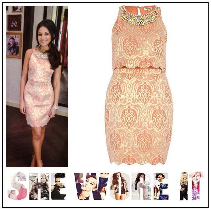 Michelle Keegan, River Island, Peach, Pink, Metallic Gold, Jacquard, Peplum, Dress, Multi-coloured Necklace Trim Detail