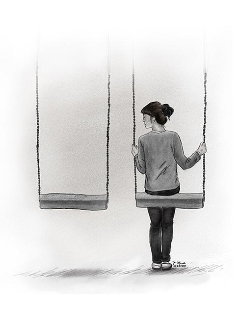 Ilustración de una chica en en columpio hecha en Paint Tool Sai