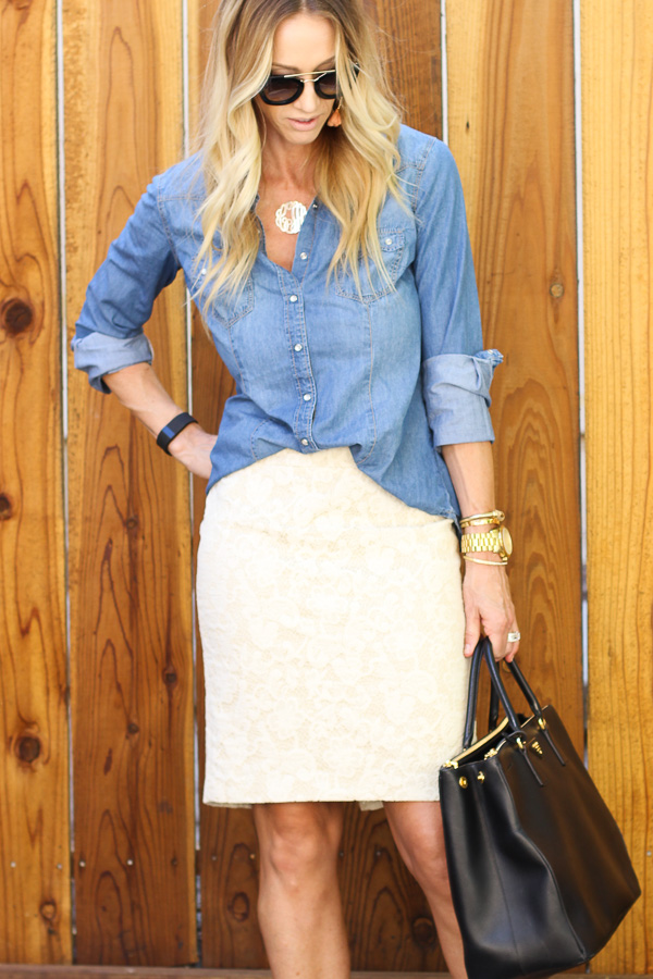 chambray tucked into pencil skirt