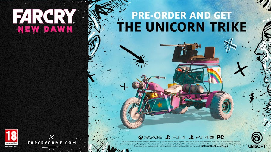 far cry new dawn pre-order bonus unicorn trike vehicle
