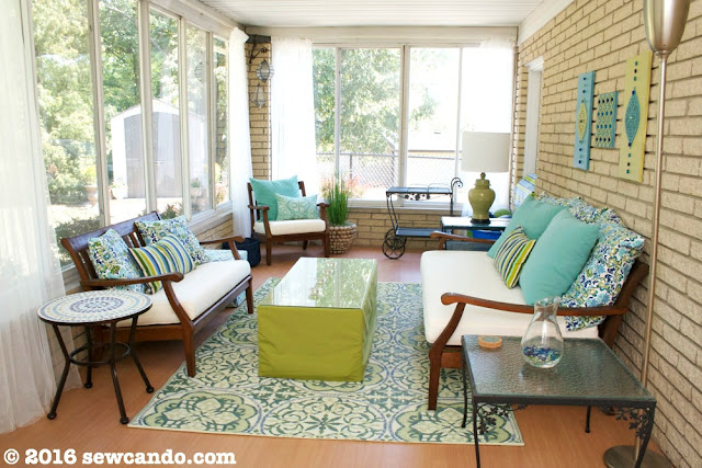 DIY Exotic Sunroom Back Porch Makeover from Sew Can Do