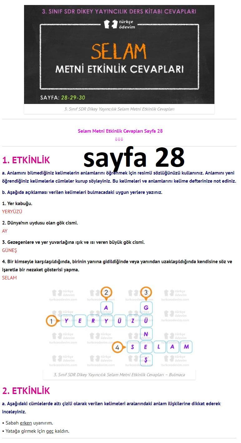 3. Sınıf Türkçe Çalışma Kitabı Cevapları Dikey Yayınları Sayfa 28