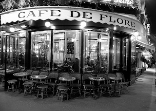 Cafe de Flore, Paris, exterior black and white photo