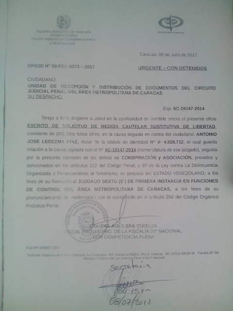 Fiscal 20 Nacional solicitó revisión de medidas a Antonio Ledezma, Lorent Salet y Daniel Ceballos. Y EL RESTO DE PRESOS POLÍTICOS?