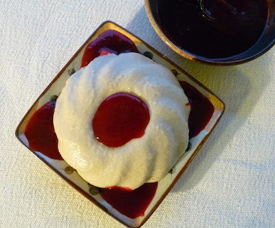 Pear Panna Cotta with Berry Sauce