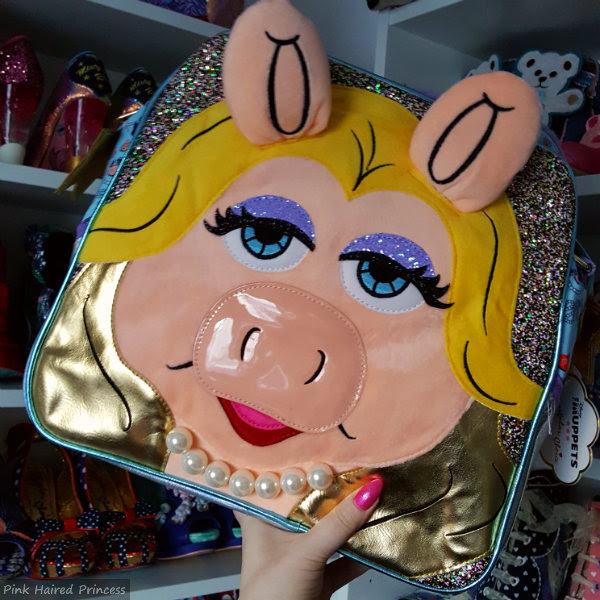 Irregular Choice Muppets Miss Piggy bag in metallic and glitter with pearls