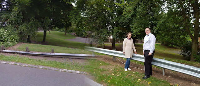 Cllrs Lynda Hogger and Stuart Parr next to new crash barriers on Stirchley Road