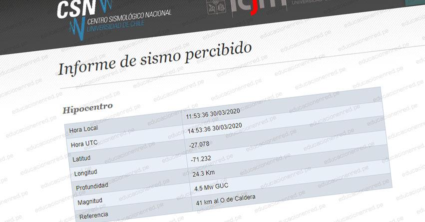 Temblor en Chile de Magnitud 4.5 (Hoy Lunes 30 Marzo 2020) Sismo Terremoto Epicentro - Caldera - Copiapó - Atacama - ONEMI - www.onemi.cl