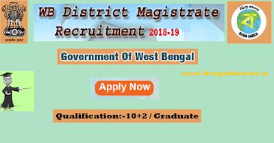 District Magistrate Clerk, DEO, Steno, Attendant, West Bengal Govt Jobs 2018 - www.BengalStudent.in