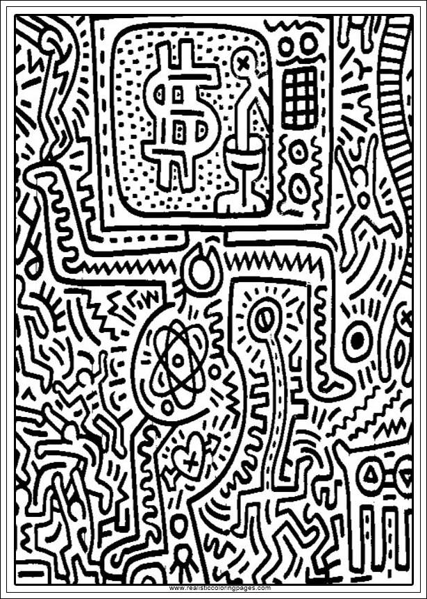Keith Haring Arts Printable Coloring Pages   Realistic ...