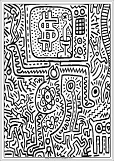 television set keith haring adults coloring pages printable