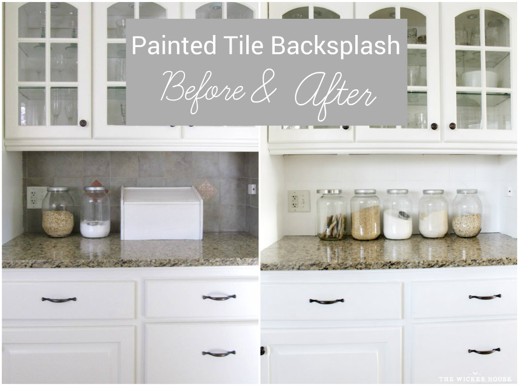 i painted our kitchen tile backsplash the wicker house. Black Bedroom Furniture Sets. Home Design Ideas