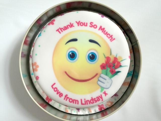 Baker Days letterbox personalised vanilla emoji thank you cake