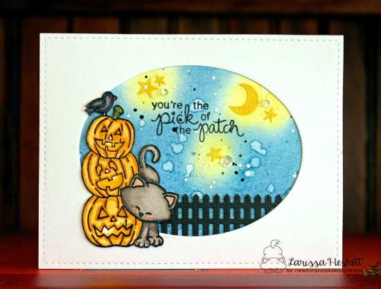 Halloween Cat light up card by Larissa Heskett | Newton's Boo-tiful Night Stamp set by Newton's Nook Designs #newtonsnook #halloween