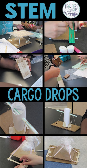 STEM Challenge: students will learn about cargo or air drops and design a container to experiment with dropping from different heights. Students will follow the steps of the Engineering Design Process for this challenge. The package contains detailed step-by-step procedures for the teacher that are marked with the Design Process steps. The accompanying lab sheets for students are also marked. Your students will love building and testing their cargo carriers. You will love the teamwork they show!