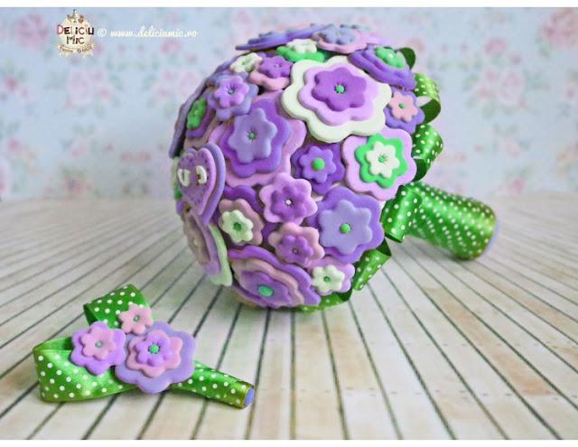 buchet mireasă lila violet