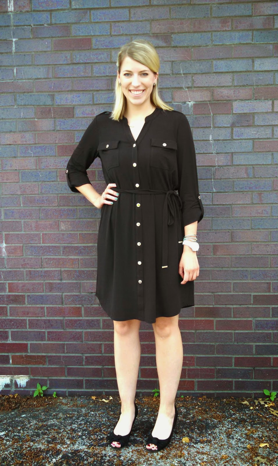 0ce6ac30c1 Office Outfit of the Day Black Shirt Dress ...